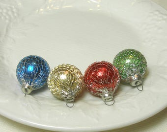 "Vintage Shiny Brite Feather Tree Ornaments, Set of 4 Mini Mesh Silver Netting Covered Balls 1950s Japan for Shiny Brite appx 1"" Adorable"