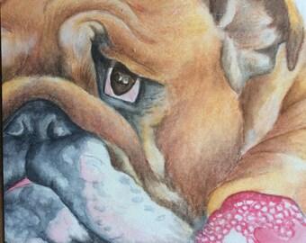 ORIGINAL British bulldog painting
