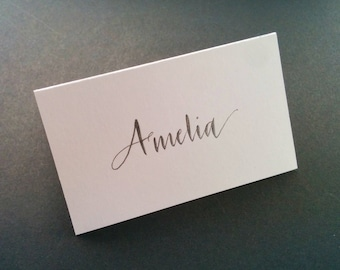 Hand written place cards - black (sparkly) ink on white card stock - modern script