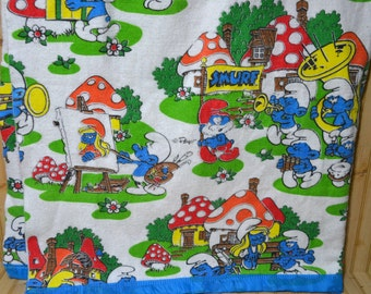 vintage smurf blanket polyester/acrylic twin  bedding 1980s rare