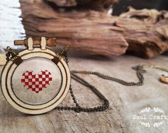 Cross Stitch Red Heart Wooden Necklace Birthday Valentine Mother's day Wedding BFF Best friend gift