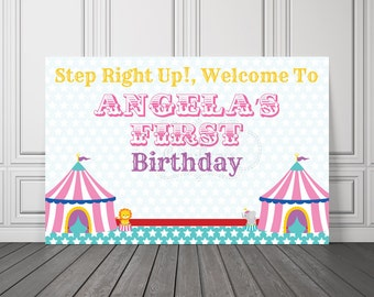 PRINTED, Circus Birthday Banner, Carnival Party Decorations, Birthday Backdrop, Cake Table, Poster, Party Sign