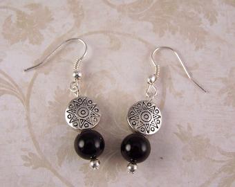 Black Onyx Earrings, Silver Earrings, Bohemian Earrings, Silver Jewelry, Boho Bohemian Jewelry, Small Everyday Earrings, Gifts for Women