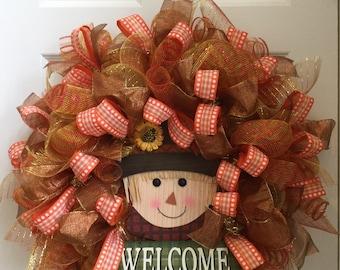 Fall scarecrow wreath, deco mesh wreath, mesh scarecrow wreath, front door wreath, fall door decor