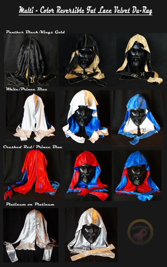 """VELVET DU-RAG:Multi Color Reversible 24"""" King Scorpion 360 Fat Lace Custom Velvet Du-Rag Collection"""