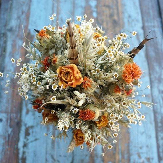 Sunset Rose Garden Dried Flower Wedding Bouquet