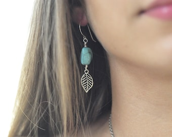 Howlite Turquoise Native American Inspired Tribal Earrings with Antique detailed Silver Leaf Charm and Handmade Ear Wires
