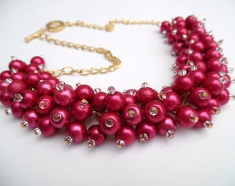 Raspberry Pink Pearl Necklace, Pink Bridesmaids Jewelry, Cluster Necklace, Chunky Necklace, Bridesmaids Gift, Pink Pearl Wedding Jewelry