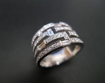 Diamond Wedding Ring 14K White Gold, Pave Ring, Baguette Ring, Baguette Wedding Band, Baguette Diamond Ring, Diamond Engagement Ring, Gems