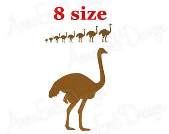 Ostrich Embroidery design. Ostrich Silhouette. Ostrich mini Embroidery. Ostrich design. Farm Embroidery. Machine Embroidery Design.