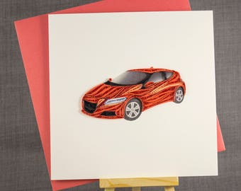 3D Handmade Card  Quilling Card Quilled Car Birthday Card Paper Quilling