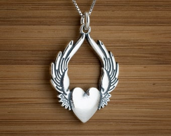 STERLING SILVER Winged Flying Heart Sufi My ORIGINAL Pendant Necklace or Earrings - Chain Optional