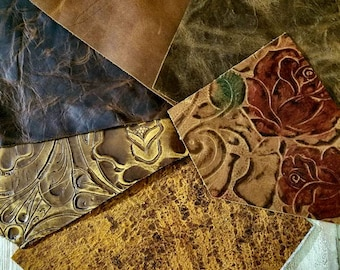 """Limited Supply of Rose Design, Vintage Brown Leather Scraps Embossed Leather Scraps 6""""sq (6 peices) Embossed Brown"""