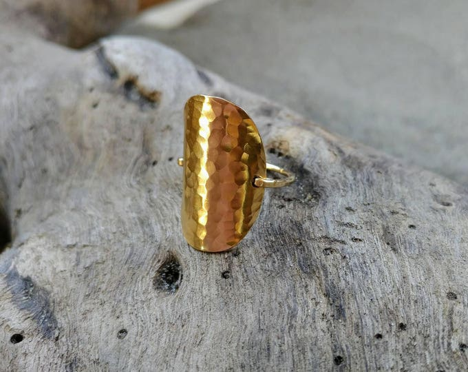 Gold Hammered Ring, Circle Ring, Gold Ring, Hammered, Simple, Large Ring, Gold Fill, Chunky, Statement Ring
