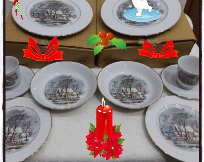 """Courier and Ives  Fine Porcelain CHRISTMAS SET   from 1981 """"Old Grist Mill"""" Vintage Two  5 Peice Settings  with Reduced Shipping"""