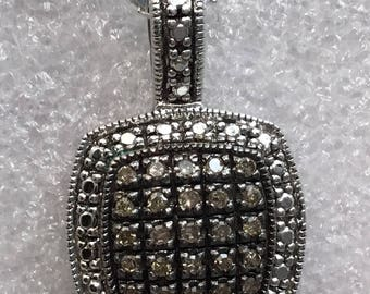 Vintage Sterling silver GAS diamond pendant