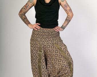 Black Fan Print Harem Cotton Yoga Afghan Festival Pants Jumpsuit Elasticated