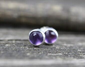 Amethyst stud earrings / tiny sterling silver earrings / tiny purple earrings / gift for her / jewelry sale / February birthstone earrings