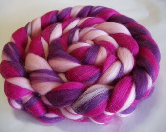 Merino wool roving, spinning fiber, 21 micron, nuno felting, needle felting wool, wool dreads, doll hair, pink roving, 100g, 3.5oz,100% wool