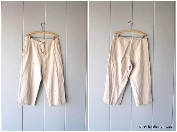 Minimal LINEN Trousers Natural Beige Cotton Capris Pants Loose Fit Pants Drawstring Waist Pants with Pockets Summer Pants Womens Medium