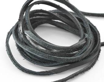 Haberdashery leather cord Brown 3 mm x1metre black