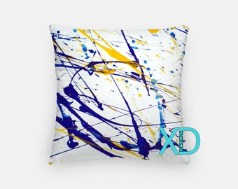 Splatter Pillow, Painting Pillow Cover, Artistic Pillow Case, Yellow, Blue Pillow, Artistic Design, Home Decor, Decorative Pillow Case, Sham