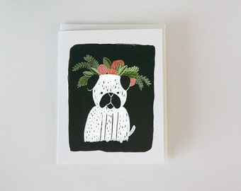 Dog with flower crown - Love card - greeting card - friendship card - Happy Birthday - Anniversary - loves dogs