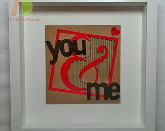 Upcycled You and Me, Recycled Cardboard Picture, Framed Sustainable, Eco-Friendly, Green Design, Cardboard Letters personalized, chipboard