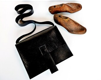 "Tiziana Corvisieri Black Italian Leather Shoulder Bag "" Il Postino"""