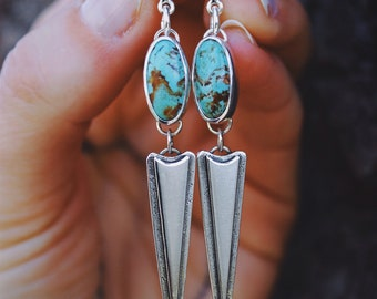 Peak Studs//Natural Tyrone Turquoise//Sterling Silver Drop Earrings//Sterling Silver Ear Post/Nut