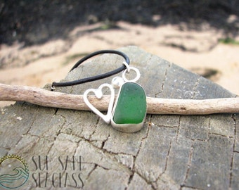 Green Sea Glass & Sterling Silver Heart Necklace