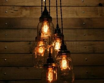 5 Jar Pendant Light - Mason Jar Chandelier Light 3' Hang Down- Quart Mason Jar Hanging Pendant Light - Black Canopy Black Twisted Cloth Cord