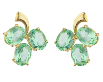 14Kt Yellow Gold Plated Green Sapphire Oval Shape Design Stud Earrings