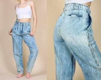 80s Acid Wash Mom Jeans - Medium to Large // Vintage Sergio High Waisted Grunge Tapered Denim Pants