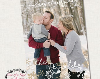 Digital Photoshop Christmas Photo Card Template, Photographer Template, Christmas Snowflakes Card, Instant Download