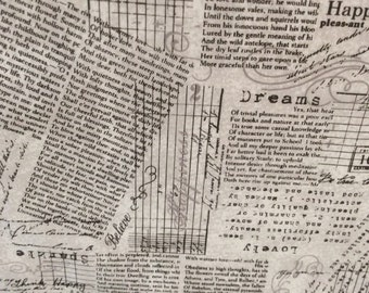 """AdornIt Fabric-Light Grey Newsprint and Script Writing Fabric-""""Chatter Graph"""" -One Yard Cut - old world script, newsprint fabric, vintage"""