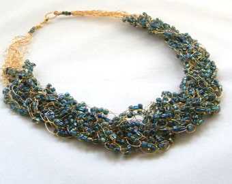 Peacock Blue Necklace, Wire Crochet Necklace, Blue Necklace, Gold Beaded Necklace, Mother of the Bride, Bridal Necklace, Special Occasion