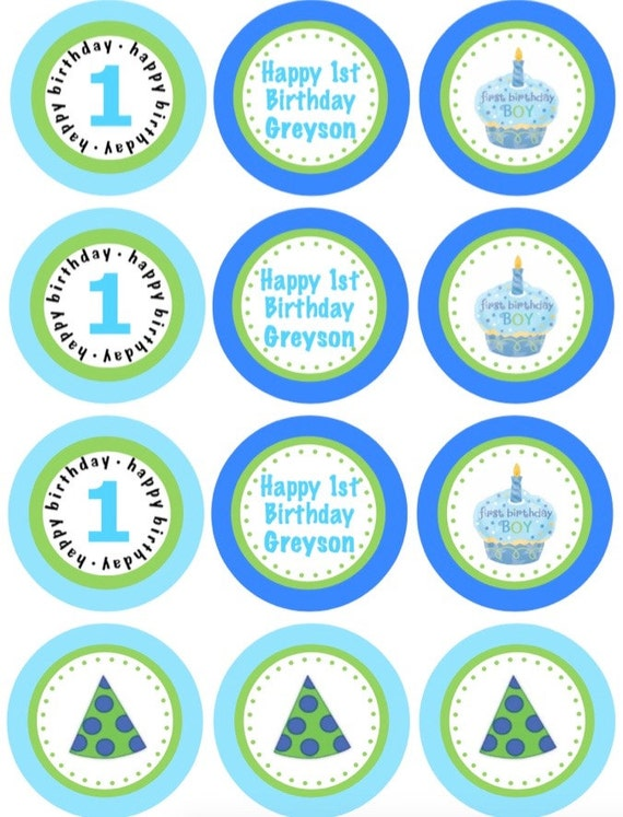 PRINTABLE Personalized First Birthday Boy Blue Cupcake and