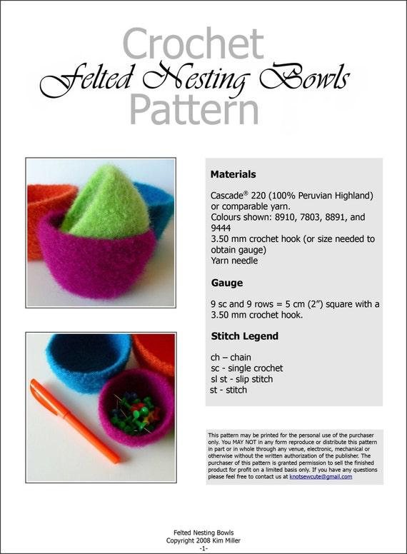 Crochet Pattern Felted Nesting Bowls Instant Download