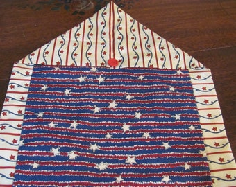 Americana,Patriotic,4th of July Table Runner,REd,White Blue FrEE ShiP.