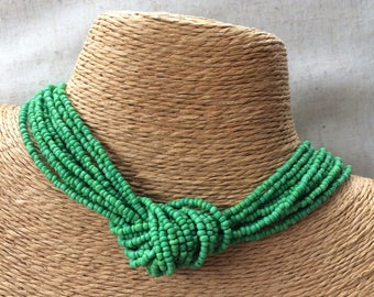 Green beaded necklace, green multi-strand necklace, green bridesmaids, green necklace, bridesmaids necklace, green knot necklace, nautical