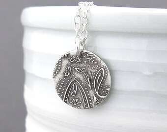 Tiny Silver Necklace Paisley Necklace Pendant Sterling Silver Charm Necklace Bohemian Jewelry Holiday Gift for Her - Unique Petite