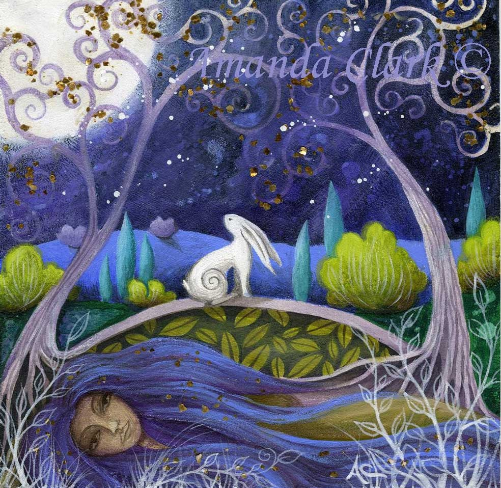 moon and mother earth art print by amanda clark. Black Bedroom Furniture Sets. Home Design Ideas