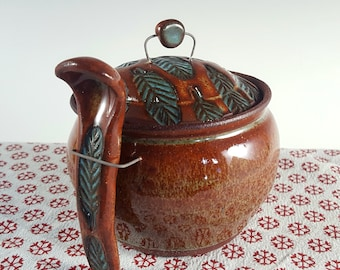 Honey Pot/Sugar Jar with Ceramic Spoon with Leaf Pattern in Rust and Turquoise