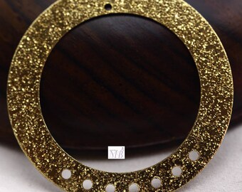4 35mm frosted gold round pendant charms