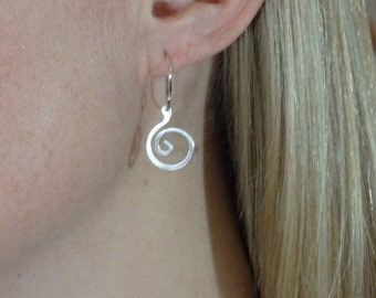 E232  Fine Silver small swirl earrings