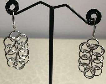 Helm chainmaille Sterling Silver earrings