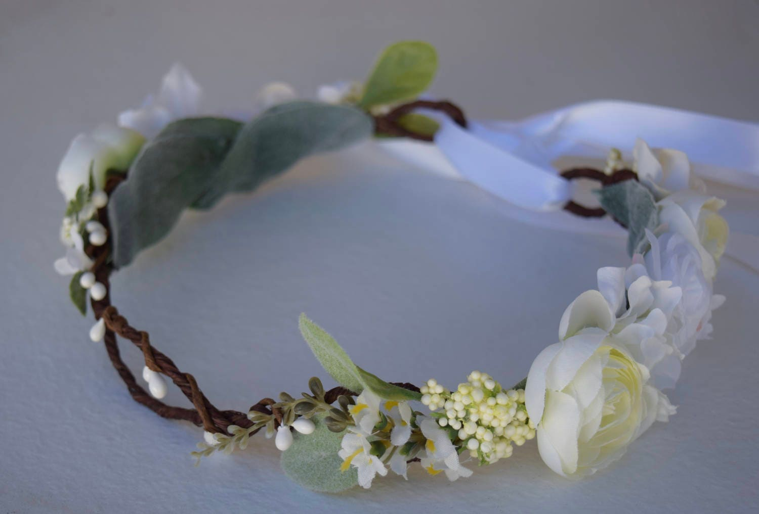 White Ivory Flower Crown Bridal Floral Halo Flower Girl