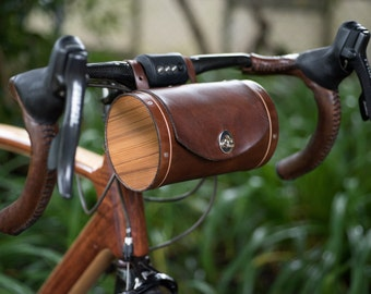 Handlebar Bag - Leather Bicycle Barrel Bag