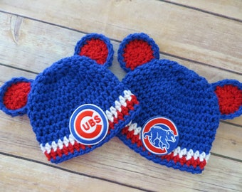 Cubs Crochet Hat, Baseball, Newborn to toddler, photo prop, MLB, shower gift, girl boy, choose CUBS or BEAR Patch, Chicago Cubs Baseball
